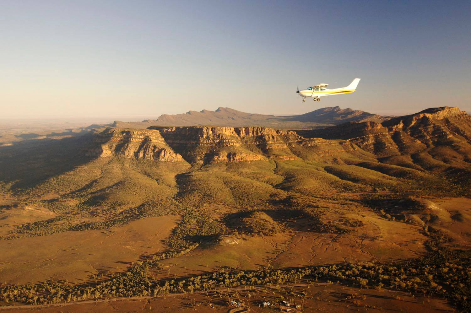 Early morning flight over Wilpena Pound on an air safari